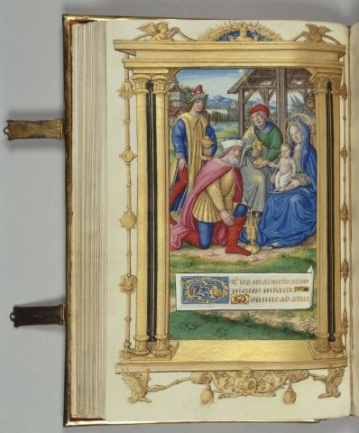 Jean Pichore (active c. 1501-20)  Cardinal York's Book of Hours  c.1500 Manuscript on vellum with bodycolour and gold leaf. The manuscript has 132 folios and is numbered in pencil. | 25.8 x 17.4 x 4.4 cm