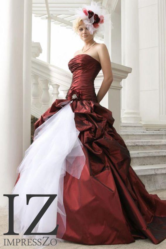 Two-tone bruidsjurk rood en wit strapless ImpressZo bruidsmode