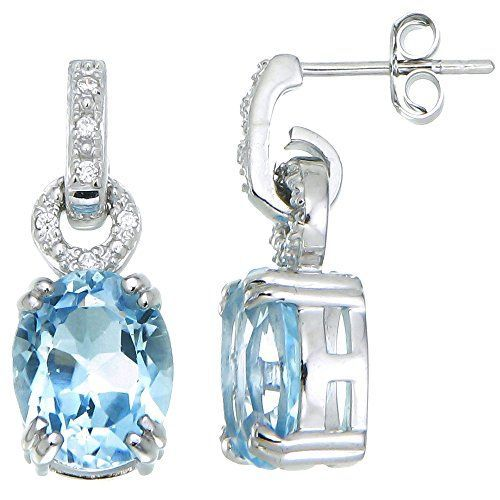 Sterling Silver Blue Topaz Earrings 5 CT ** For more information, visit image link.