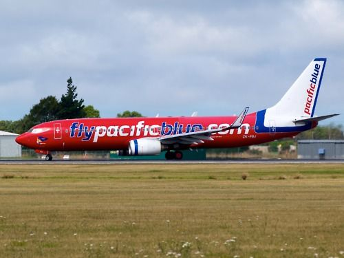 Pacific Blue 737 lining up to take off on runway 02  Type: Boeing 737-8FE  Registration: ZK-PBJ  Location: Christchurch International Airport  Date: 07/02/2012