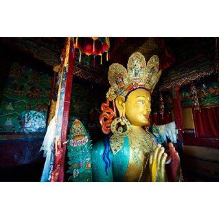Golden Maitreya Buddha Thiksey Monastery Thiksey Ladakh India Canvas Art - Anthony Asael DanitaDelimont (29 x 19)