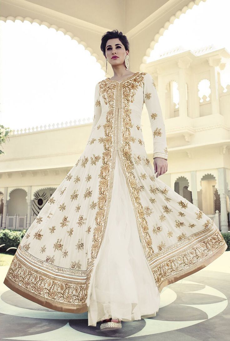 Nargis Fakhri Off White Georgette Bollywood Suit 61849