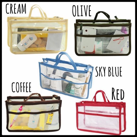 """PURSE INSERT/MAKEUP/TRAVEL ORGANIZER TRANSPARENT HANDBAG INSERT. Can also be used for home as a COSMETIC ORGANIZER, for TRAVEL, as a BEDSIDE ORGANIZER❣  This is a well-made,clear PVC, washable, functional, roomy and """"MAKE YOUR LIFE EASIER"""" item that you'll wonder how you ever did without it❣                                          Available in RED, OLIVE, COFFEE, BEIGE & SKY BLUE Bags Cosmetic Bags & Cases"""