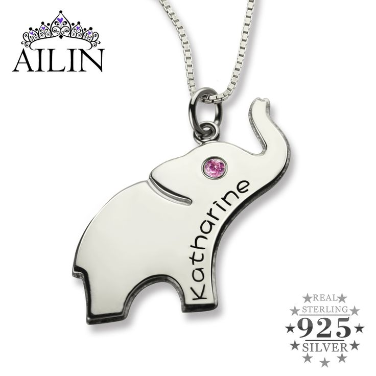 Lucky Birthstone Elephant Necklace Silver Name Necklace Personalized Initial Elephant Necklace Luck with You Name Baby Jewelry