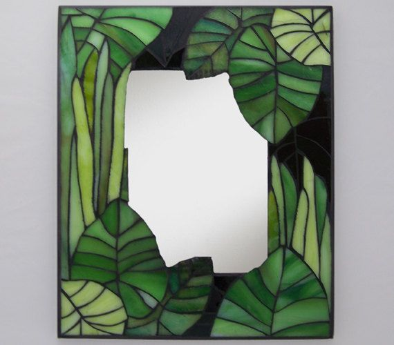 "Mosaic Mirror - ""Just Greens""  7.5 x 11.5  $95"