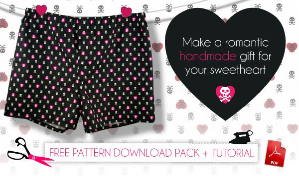 Tutorial for Valentine boxers with free pattern.