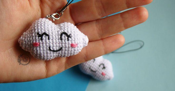 Free crochet patter cloud. amigurumi. keychain. Pendant