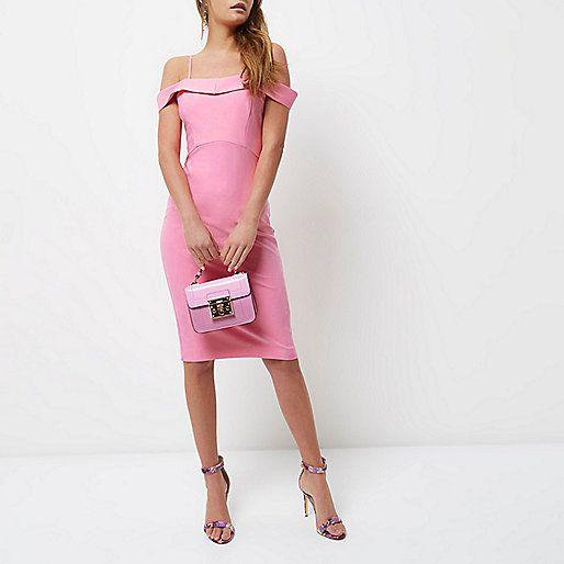 Pink bardot fitted midi dress - bodycon dresses - dresses - women