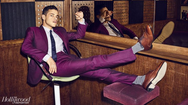 Rami Malek: Calvin Klein suit and shirt, Jimmy Choo shoes, London Sock Company socks