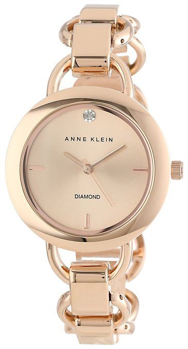 Anne Klein Women's Diamond Dial Rose Gold-Tone Open Link Bracelet Watch.