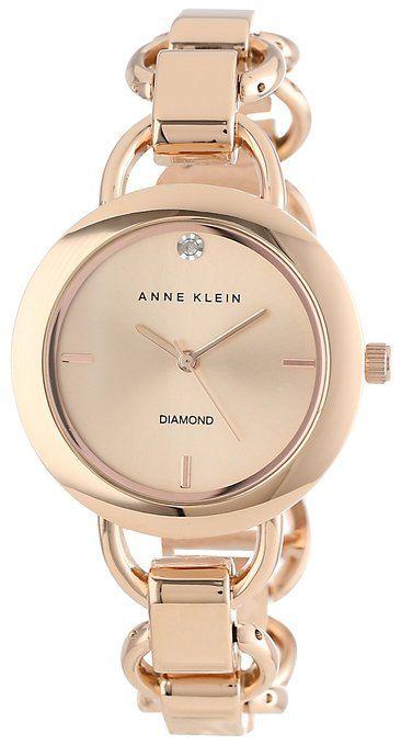Anne Klein Women's Diamond Dial Rose Gold-Tone Open Link Bracelet Watch.