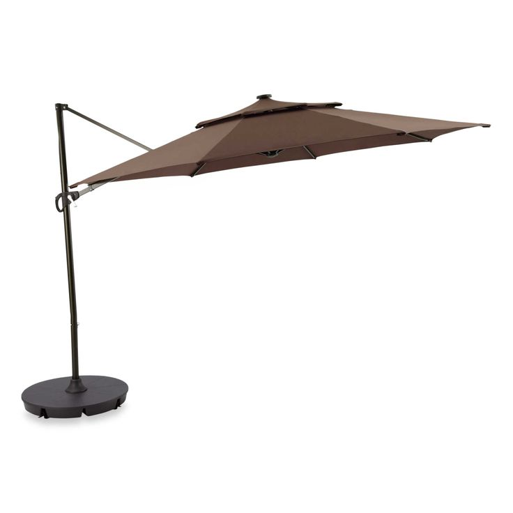 outdoor patio cantilever umbrella 11 foot round canopy with solor powered lights includes base. Black Bedroom Furniture Sets. Home Design Ideas