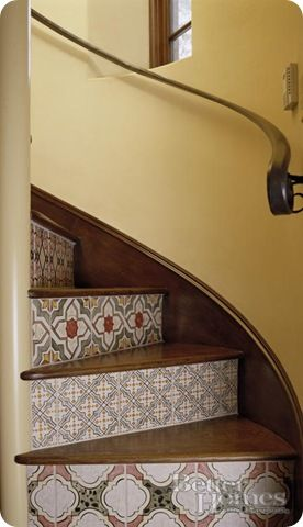 stair riser storage | ... emailed me to tell me you used wallpaper on the risers – gorgeous