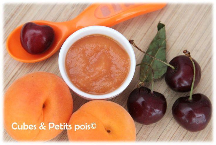Recette d'été pour bébé Compote abricot cerises - http://www.cubesetpetitspois.fr/recette-bebe-compote-abricot-cerises/