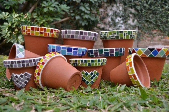 Macetas de barro con venecitas 20 cm de diámetro (se hacen otros tamaños) Colores y tamaños a elección...