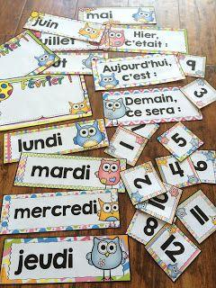 Nouveau décor pour la classe : les hiboux ! Ensemble pour le calendrier de la classe.
