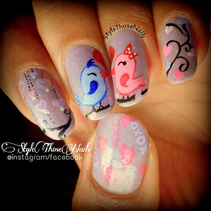 Style Those Nails: Tweeting Kisses !! Kiss Day Valentine's Nailart