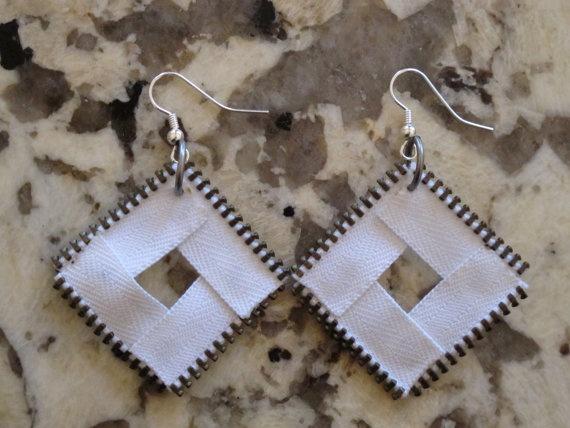 White Diamond Zipper Earring by ClaireHannahDesigns, $25.00 Email clairehannahdesigns@gmail.com to purchase!