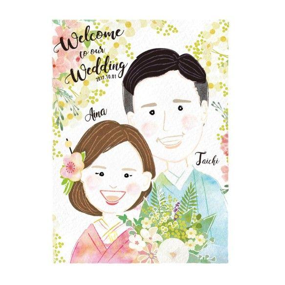 《送料無料》【weddingウエルカムボードA3】似顔絵オーダーメイド|ウェルカムボード|mielfactory|ハンドメイド通販・販売のCreema