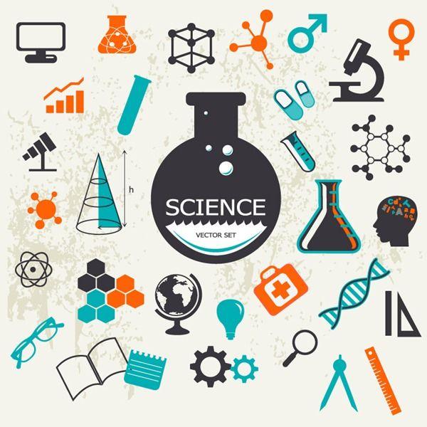 Retro science design elements – vector graphics | My Free ...