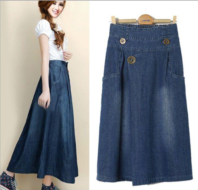Long Denim Skirts | 2014 New arrival Spring Autumn Retro National wind Women Denim skirt ...