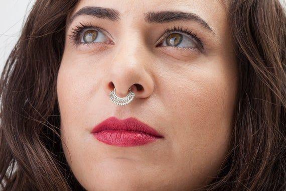 Silver Septum Ring Silver Nose Hoop Indian Nose Hoop Nose Ring
