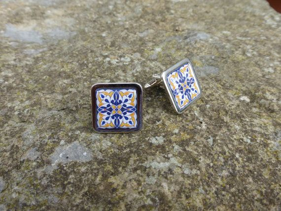 Blue and Yellow Painted Flower  Spanish Tile by DragonTreeStudio