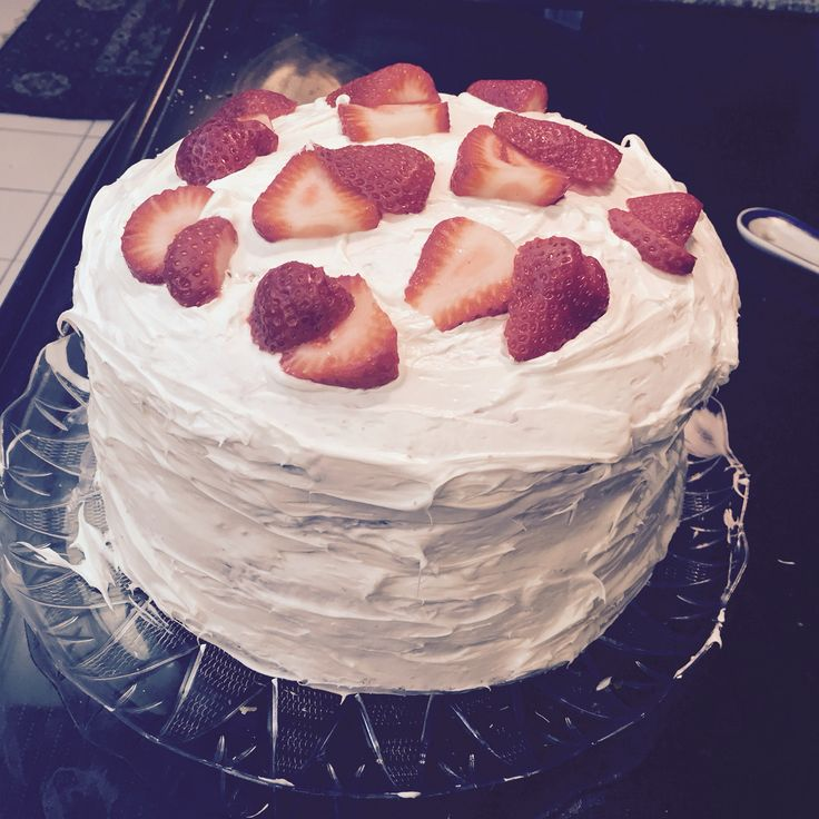 My style strawberry shortcake with vanilla icing and whip cream in the middle