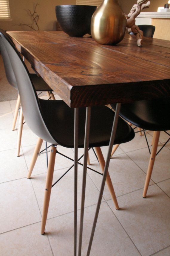 Organic Modern Rustic Dining Table with Hairpin by MetalMeetsWood Just the table - not the chairs  425.00