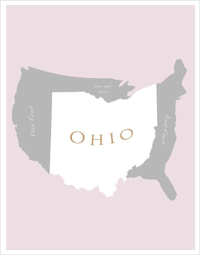 Ohio Map of US 11x14