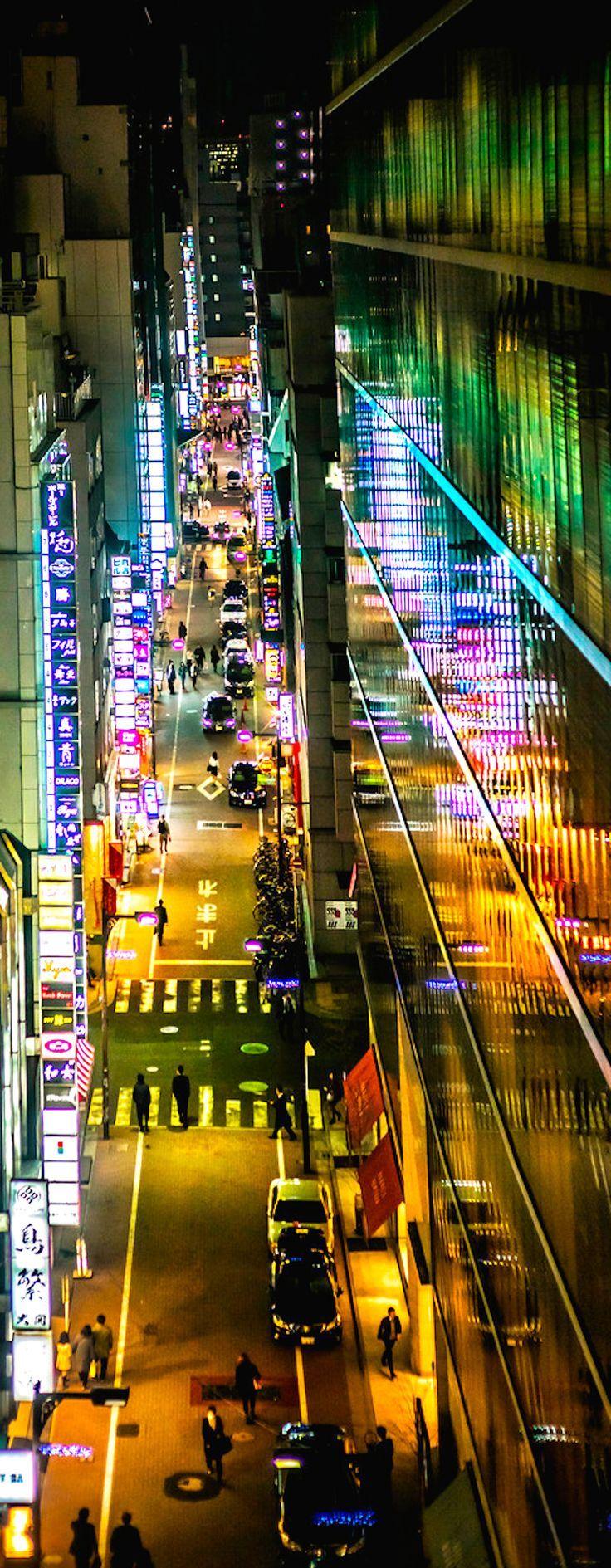 Neon reflections, Ginza, Tokyo.