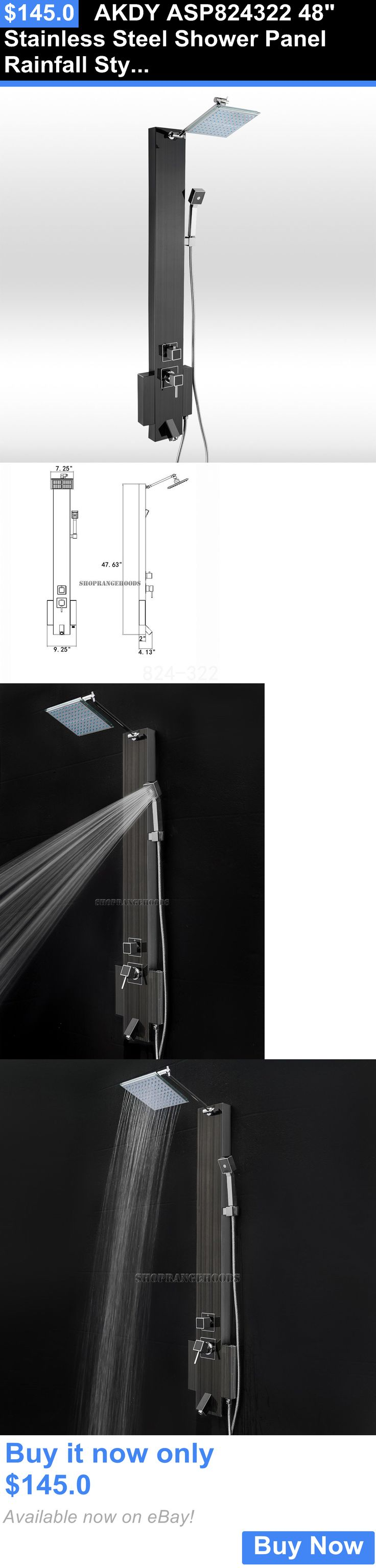 Massagers: Akdy Asp824322 48 Stainless Steel Shower Panel Rainfall Style Shower Tower BUY IT NOW ONLY: $145.0