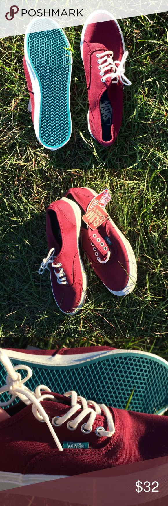Brand New Maroon Vans  These absolutely gorgeous women's size 8 Vans shoes are brand new with tags! I paid about $50 for them, I think, because they're my favorite colors, but they're sadly too big for me. They've never been worn, so they'd even make a great gift! I don't have the original box, but the tags are still in perfect condition. Come love 'em and break these bad boys in.   Vans Shoes Sneakers