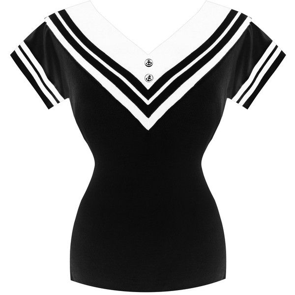 Womens Ladies Nautical Sailor Short Sleeve 1950s Vintage Retro Sweater... (£30) ❤ liked on Polyvore featuring tops, short sleeve tops, gothic tops, goth tops, retro tops and nautical tops