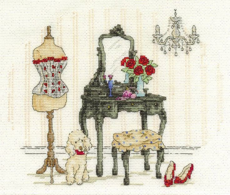 Le Boudoir Cross Stitch Kit, Designed by Maria Diaz - £22.50 on Past Impressions | from DMC