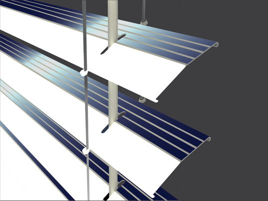 How cool!! Solar-powered window blinds, soak up sun by day, illuminate the room at night. Interesting concept for emergency power outages..