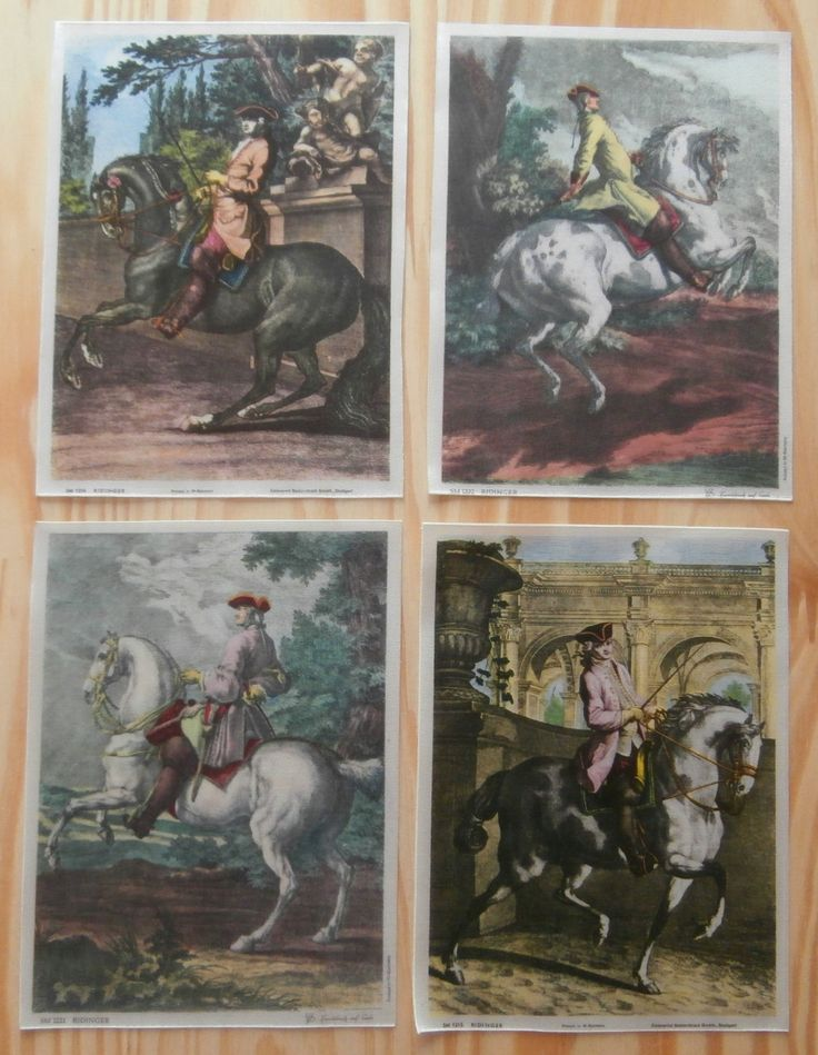 Vintage 1950's (Approx) 4 Silk Mini Prints of 18th Century Cavaliers on Horseback Limited Edition Ridinger Collection Old Masters by SBDVintage on Etsy