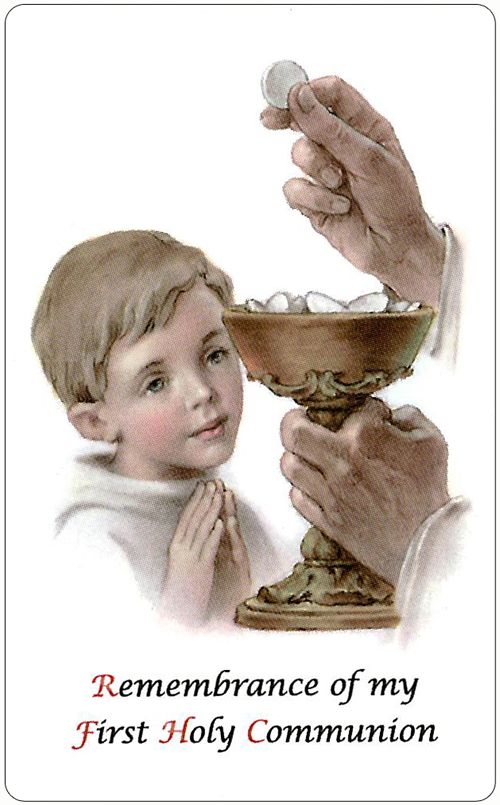 Communion Prayer Cards Boys