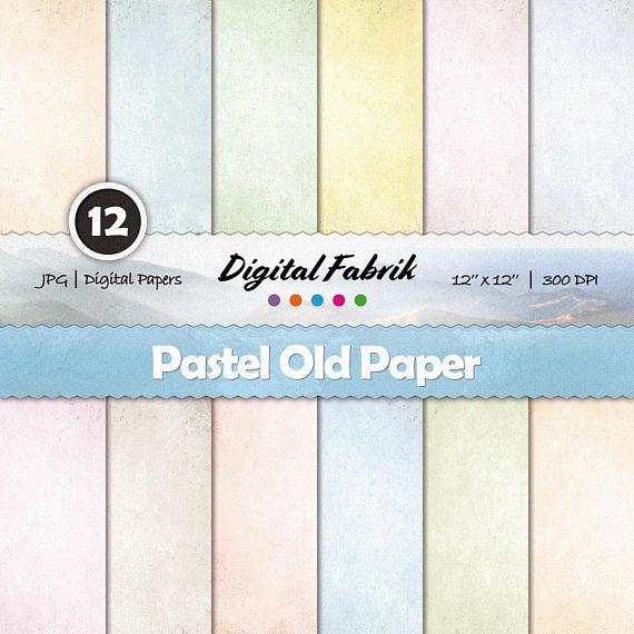 Pastel old & rustic scrapbook paper, 12 digital papers, digital paper pack, 12x12 jpg files, digital download, personal or commercial use