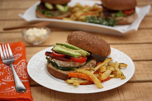 salmon burger and root vegetable fries | Food & Drinks | Pinterest