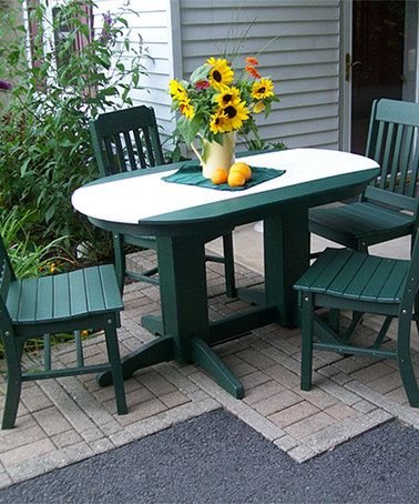 Take a look at this Oval Dining Table & Traditional Dining Chair Set on zulily today!