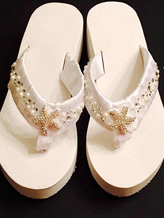 01e0f786f5bc4 Beach Wedding Shoes Bridal Flip Flops /Wedges Wedding Shoes ...