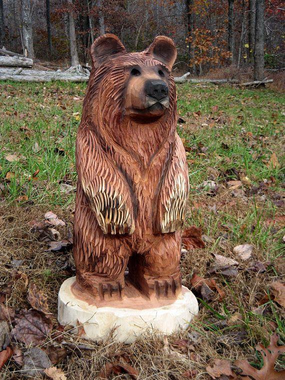 Chainsaw carved wood bear cub rusty by sleepyhollowartists