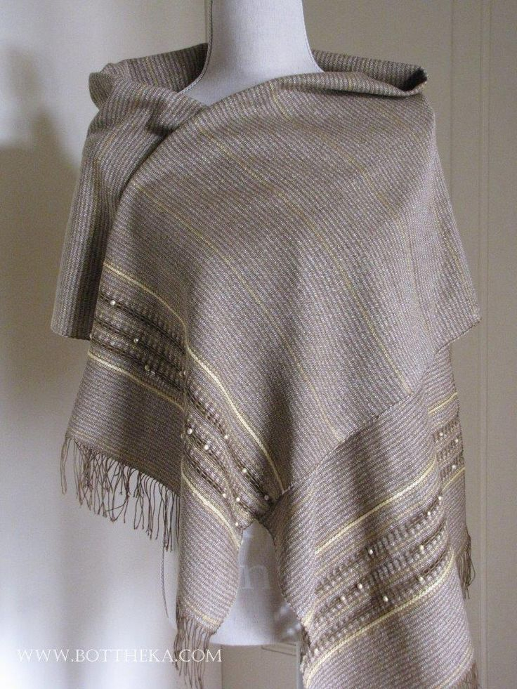 Sphinx - striped-beaded silk scarf with ajour-crochet-vegetal dyed yarn decoration http://bottheka.com/en/sphinx