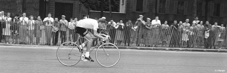 Jacques Anquetil stays in line to win his second time trial of the Tour from Versailles to Paris on 14 July 1964. By the finish he had won his fifth Tour de France and now held the record for the most Tour de France victories.
