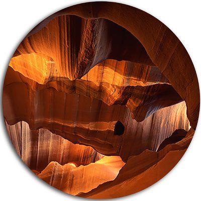 "DesignArt 'Red Limestone Caves' Graphic Art Print on Metal Size: 11"" H x 11"" W x 1"" D"