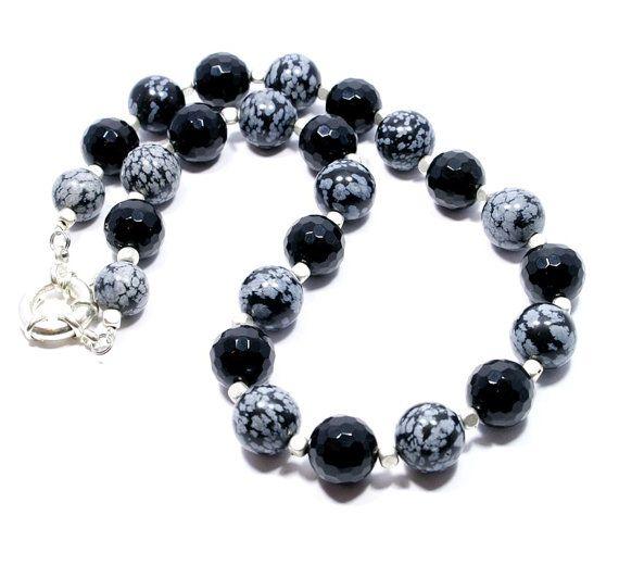 Onyx and Snowflake Obsidian Necklace Gemstone by BigSkiesJewellery
