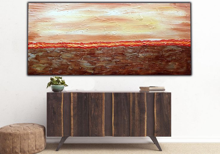 Excited to share my  latest art to my : *Earthbound*   Textured Abstract Art on Canvas , Brown Orange Modern Wall Art , Home Decor , Landscape Art ! 120x50cm #art #painting #texturedart #abstractcanvasart #modernartabstract http://etsy.me/2D72XqO