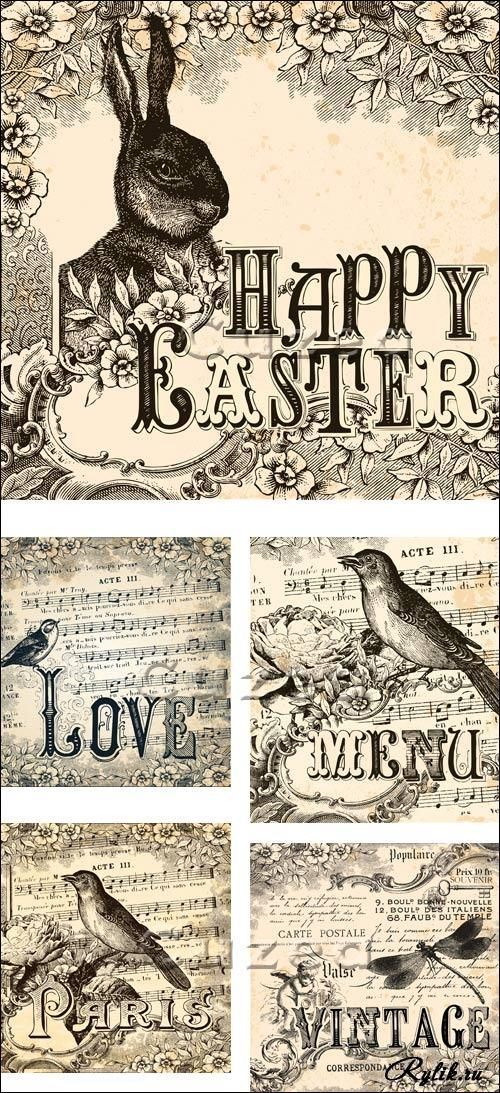 Vintage Easter Card printables