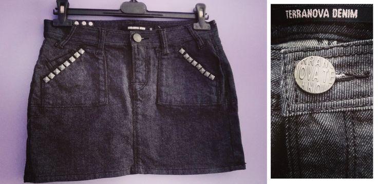 MINI GONNA fascia nera jeans cotone borchie TERRANOVA DENIM S 42 skirt jupe rock